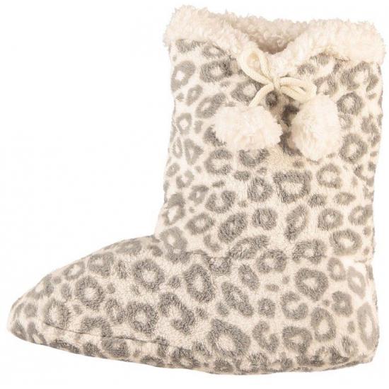 e3d2b7ad0bc72a Dames pantoffel sokken luipaard motief in het grijs | Sloffen webshop